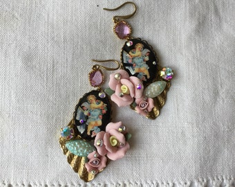 Rococo cherub earrings, Playing with ribbons , vintage swarovski, Miriam Haskell elements, porcelain roses