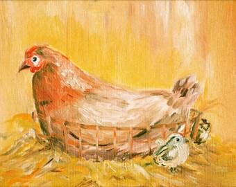 Chicken Print , Original Print , Limited Edition Print , Chicken Painting , Oil color painting print , Chicken art , Yellow painting