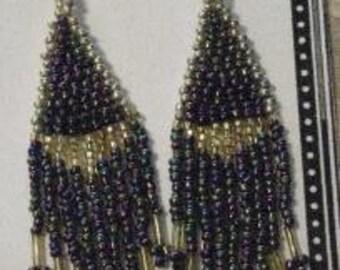 Seed Bead Earrings, Gunmetal Purple