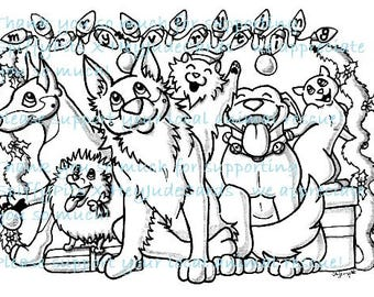 Digital Stamp or Coloring Page - Merry Everything Rescue Group  - Includes cats & all kinds of breeds! Portion of every sale to RESCUES!!!