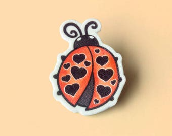 Ladybug pin, Insect brooch, Beetle, Hat pin, Lapel Pin, Nature lover gift