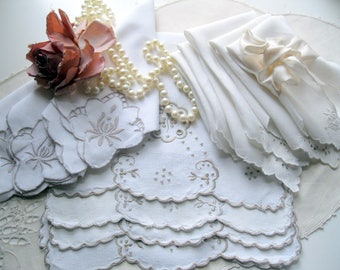 Lot of Linens, Bulk Lot 13 Vintage Pieces Linens, Napkins, Placemats, Centerpiece, Shabby French, Wedding,  by mailordervintage on etsy