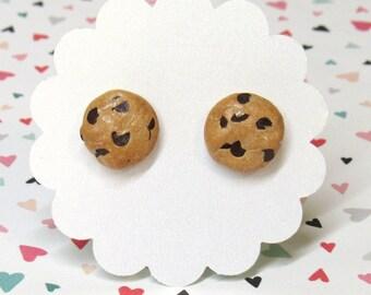 Chocolate Chip Cookie Earrings, Food Earrings, Cookie Earrings, Titanium Earrings, Miniature Food Jewelry, Polymer Clay Food, Cute Earrings