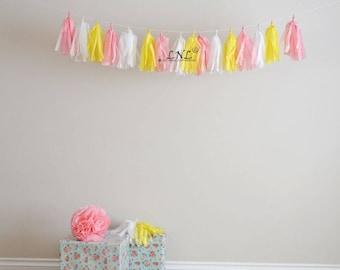 Lemonade Garland Paper Tassel Garland, Tissue, Wedding, Tassel Garland, Party Banner, Tassels, Pastel Tassels,Birthday Decoration