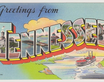 Tennessee Large Letter Postcard, Greetings from Tennessee, Linen Postcard, Big Letter Postcard, Vintage Souvenir, Unused