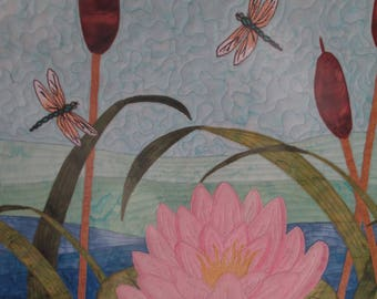Water Lily with Dragonflies Wall hanging