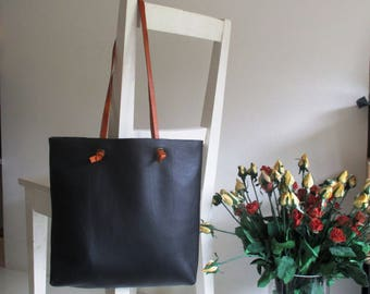 Black Leather Tote / Shoulder Bag with Tan Leather Straps