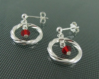 Twisted Circles with Red Swarovski Drops on Posts