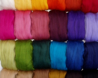 30g (9.67 Euro/100g) 1oz super soft merino wool roving, spinning fiber, felting wool, roving wool, choose from 25 colours, doll hair, 20 mic
