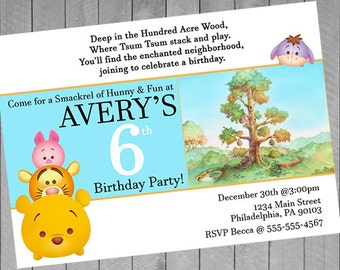 Winnie the Pooh Party Invitations, Tsum Tsum Party, Tsum Tsum Birthday, Tsum Tsum Invitation, Tsum Party, Digital Printable Invitations