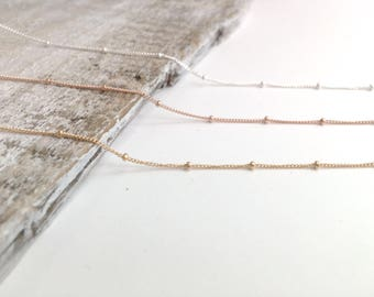 Beaded Choker Chain Necklace, Gold Filled Satellite Necklace, Sterling Silver Satellite Necklace, Rose Gold Filled Beaded Chain Necklace