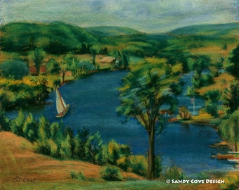 Sailing on the River, Print from Work in Pastels by E.S. Beal, New York, River, Sailboat, Trees, Fine Art, Wall Art