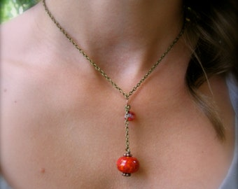 Simple and Stunning Antiqued Brass and Handmade Lampwork Bead Red/Orange Necklace SRA