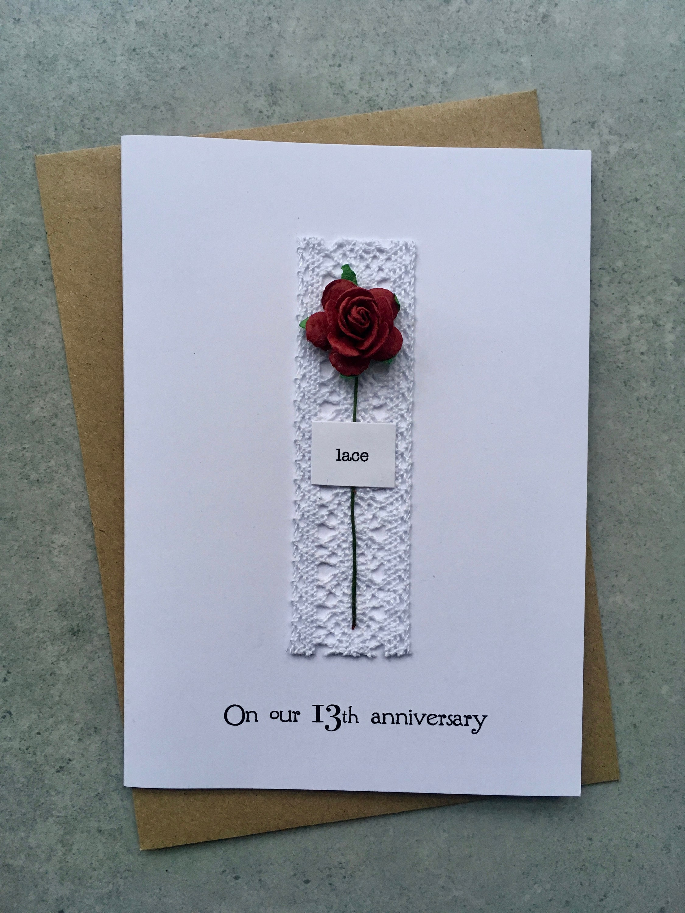 zoom 13th Anniversary Keepsake Card LACE Lace