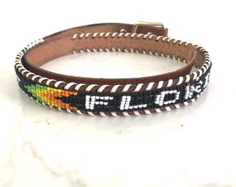 Vintage Souvenir Belt Beaded & Laced Brown Leather Florida Souvenir Belt - Made in Hong Kong Multi-Color Beads XS to S - Waist 25.5 to 29.5