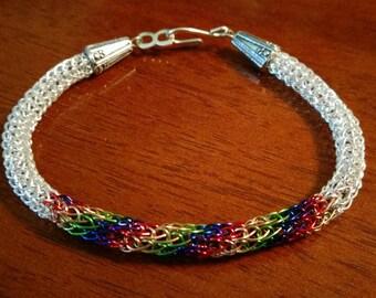 Rainbow & Silver Spiral Viking Knit Bracelet