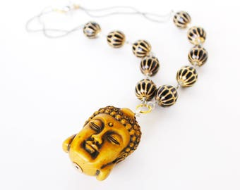 Ancient Buddha gold black beaded statement necklace
