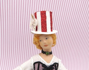 Steampunk top hat red and white stripes in 1:12 scale