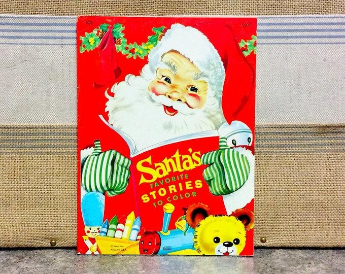 SANTA'S Favorite Stories to Color Vintage Lowe COLORING Book 1977