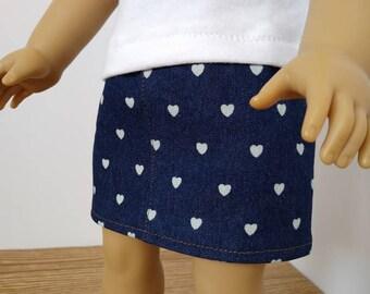 One Left!** Denim Heart Skirt For 18 Inch Dolls