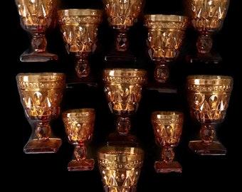Vintage Amber Wine Glasses, Stemware, Indiana Glass Park Lane Amber by Colony Set of 9 Plus 2 Cordial Glasses, Stemware Set, Home Decor