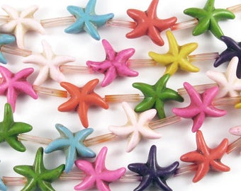 """16"""" Gemstone Beads-Multi Colored CANDY TURQUOISE STARFISH 15mm (25)"""