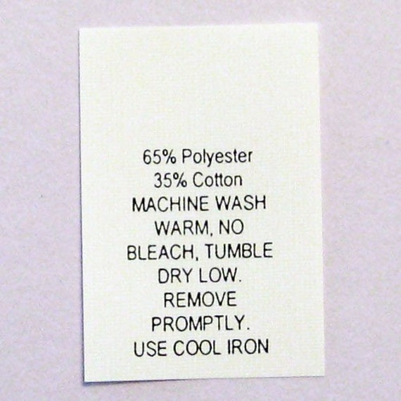 Ideal Poly / Cotton Blend Care Labels Number 12 Qty 100 OS14