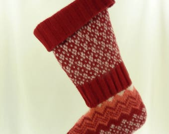 Christmas Stocking Wool Felt American Eagle Outfitters Scandinavian Red White Pink Recycled Repurposed Upcycled 788