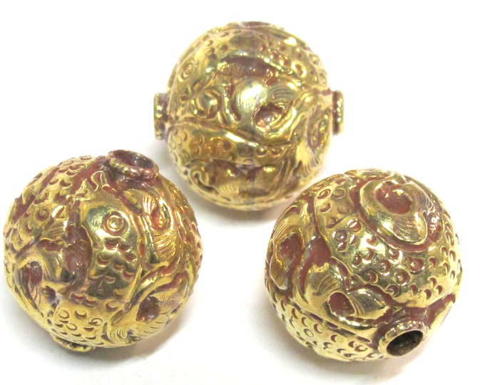 1 BEAD -  Large big Size 25 mm Tibetan brass repousse oval rondelle ball shape dragon snake design beads -  BD892C