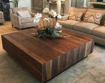 Walnut Coffee Table, Modern Rustic Table, Dark, Black Walnut, Midcentury,  Custom