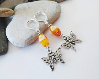 Yellow Lampwork Glass Butterfly Earrings Yellow Spring Summer Glass Jewelry Birthday Gift Best Friend Gift Teen Jewelry Long Yellow Earrings