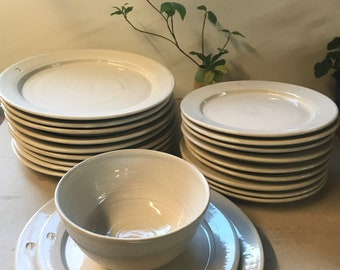 handmade dinner plates, pottery dinnerware, ceramic plate, pottery dishes, place set, wedding registry, dinnerware, white dinnerware, plates