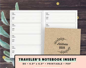 B6 TN Inserts   Address Book, Contacts list Printable   Fits Foxy Fix no. 5, Chic Sparrow Traveler's Journals, Instant Download, PDF