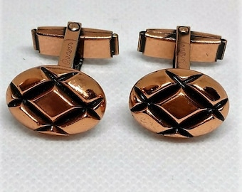 Renoir Copper Cufflinks Mid-Century Modernist Signed Vintage Cuff Links 1940s-1950s Oval Shaped, Gift for Him