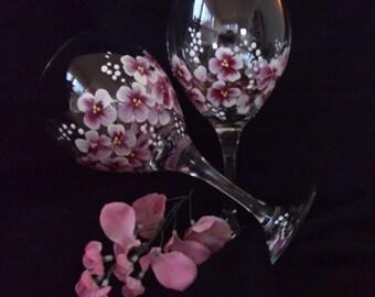 Cherry Blossom Red Wine Hand Painted Wine Glasses/ Stemware