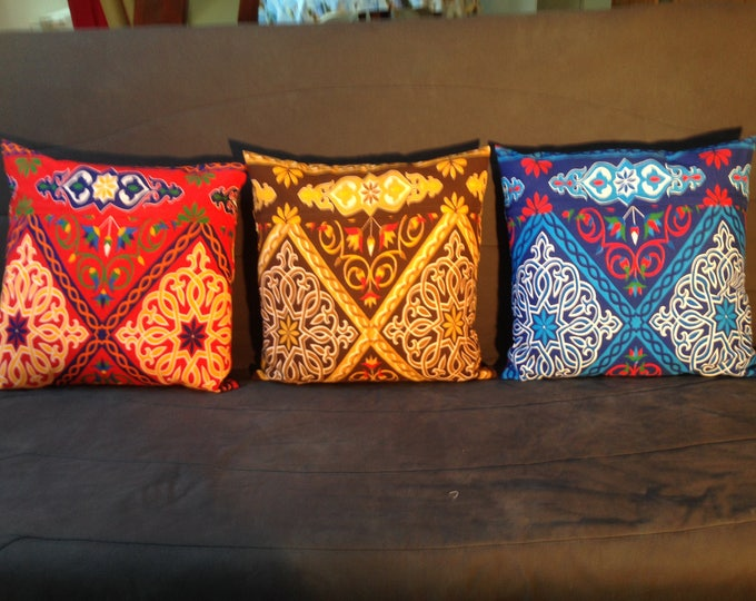 Egyptian fabric cushion khayameya touches of Brown blue red colours 45 X 45 with or without filling product ethnic decorative sofa