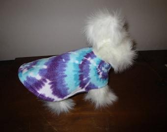 TINY DOG COAT Tie Dye Purple Swirls with Purple reverse side fleece dog jacket