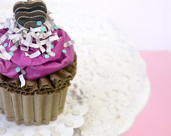Cupcake With Pink Buttercream Cardboard Art Food Sculpture home Decor