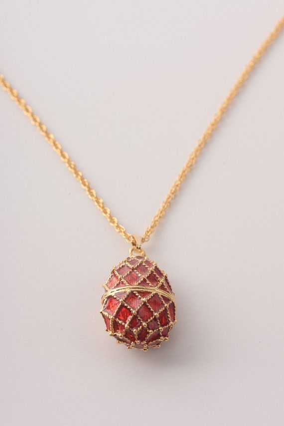 Red pendant gold necklace faberge styled handmade by keren aloadofball Gallery