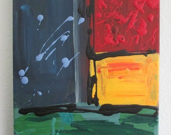 Blue Red Green Yellow Abstract Primary Color Acrylic Painting