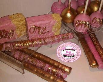One party rkt pretzels sticks cake pops gold pink