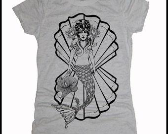 Women's MERMAIDEN White Burnout Tee Tattoo Style Mermaid with Hibiscus American Traditional Shirt