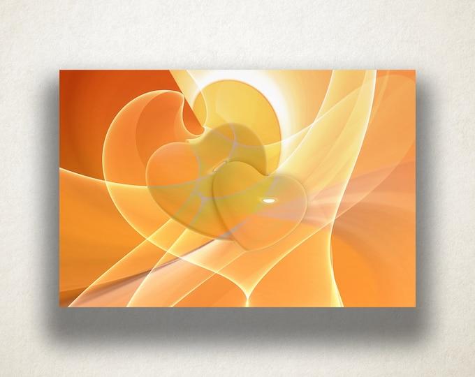 Abstract Orange Heart Design Canvas Art Print, Orange Hearts Wall Art, Heart Canvas Print, Canvas Art, Canvas Print, Home Art, Wall Art