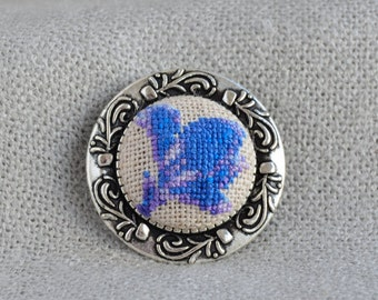 Flower brooch, Cross stitch brooch, Embroidered jewelry, Blue flower, Nature brooch, Blue brooch, Flower jewelry, Unique brooch