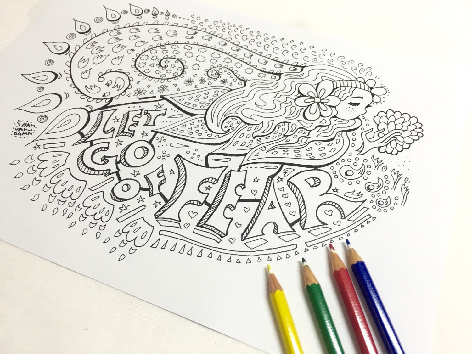 Let Go Of Fear Coloring Page Adult Art Therapy I Will No Evil Robert A Heinlein Book
