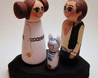 Hans Solo Loves Princess Leia Wedding cake topper / Custom Painted Wood Peg Dolls / Couple Plus Pet or child and Plaque