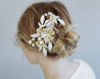 Bridal comb - Rhinestone encrusted spray leaf and blossom comb - Style 777 - Made to Order