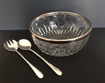 Vintage Mid Century Pressed Glass and Silver-plate Salad Set (from Italy)