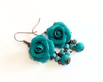 Turquoise Rose Drop Earrings, Turquoise flower drop earrings, Turquoise jewelry Turquoise Rosa Wedding Earrings