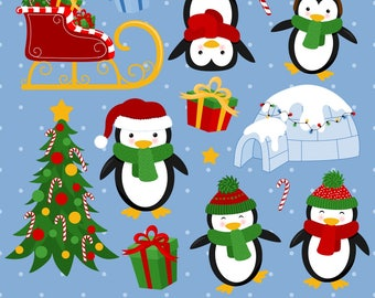 Penguin Clipart, Christmas Penguin Clipart, Christmas Clipart, Penguin Graphics, Printable, Commercial Use